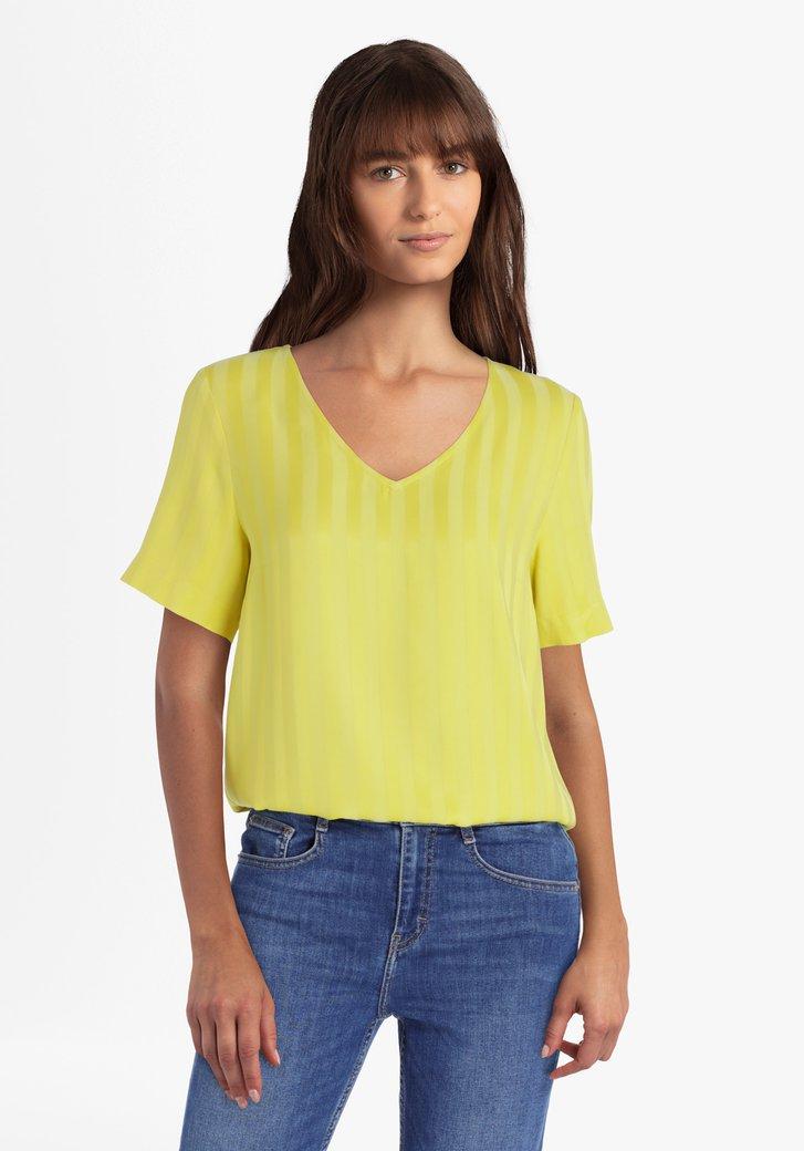 Gele blouse met strepen in viscose