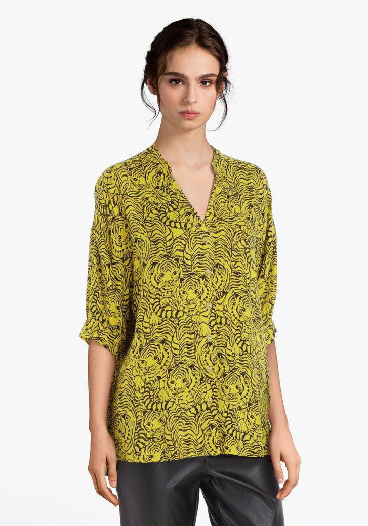 Gele blouse met zwarte panterprint