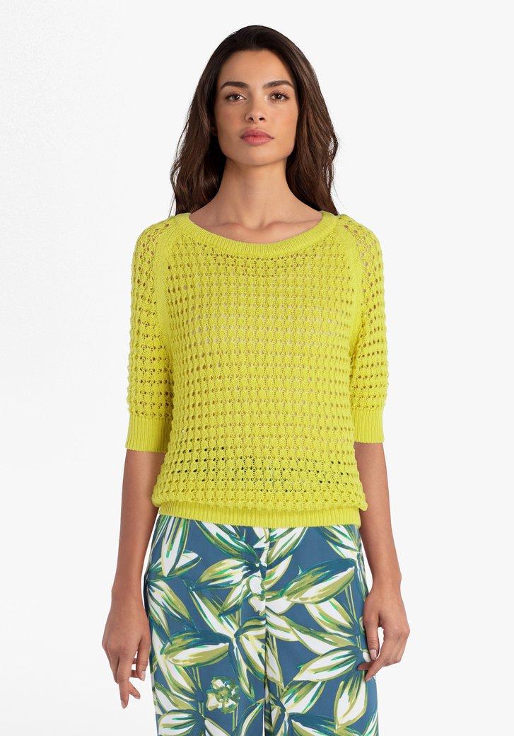 Gele gebreide trui met korte mouwen
