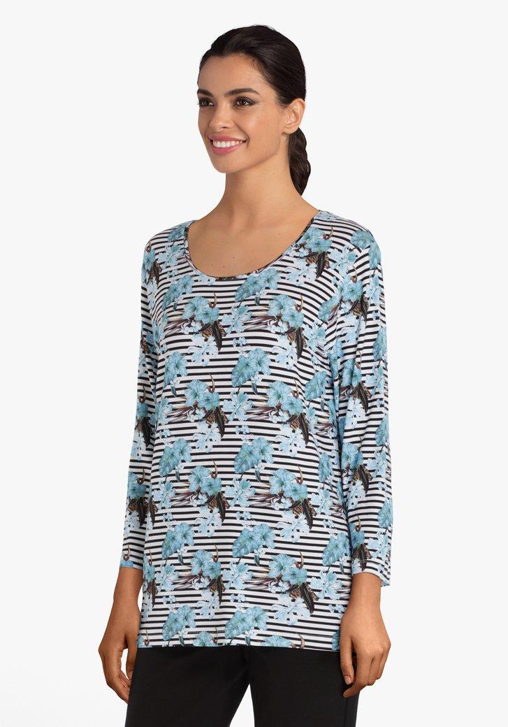 Gestreept T-shirt met blauwe bloemen in viscose