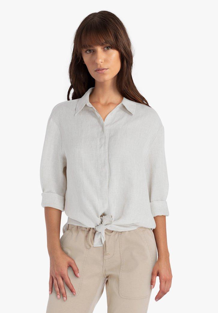 Gestreepte blouse in zandtinten