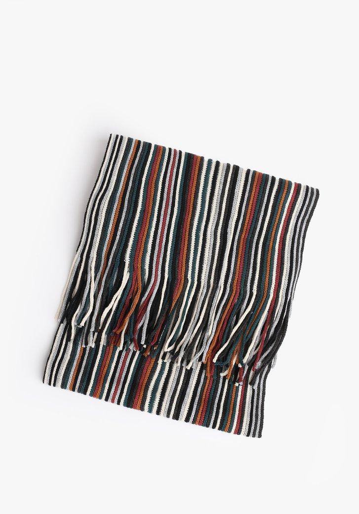 Gestreepte sjaal met franjes
