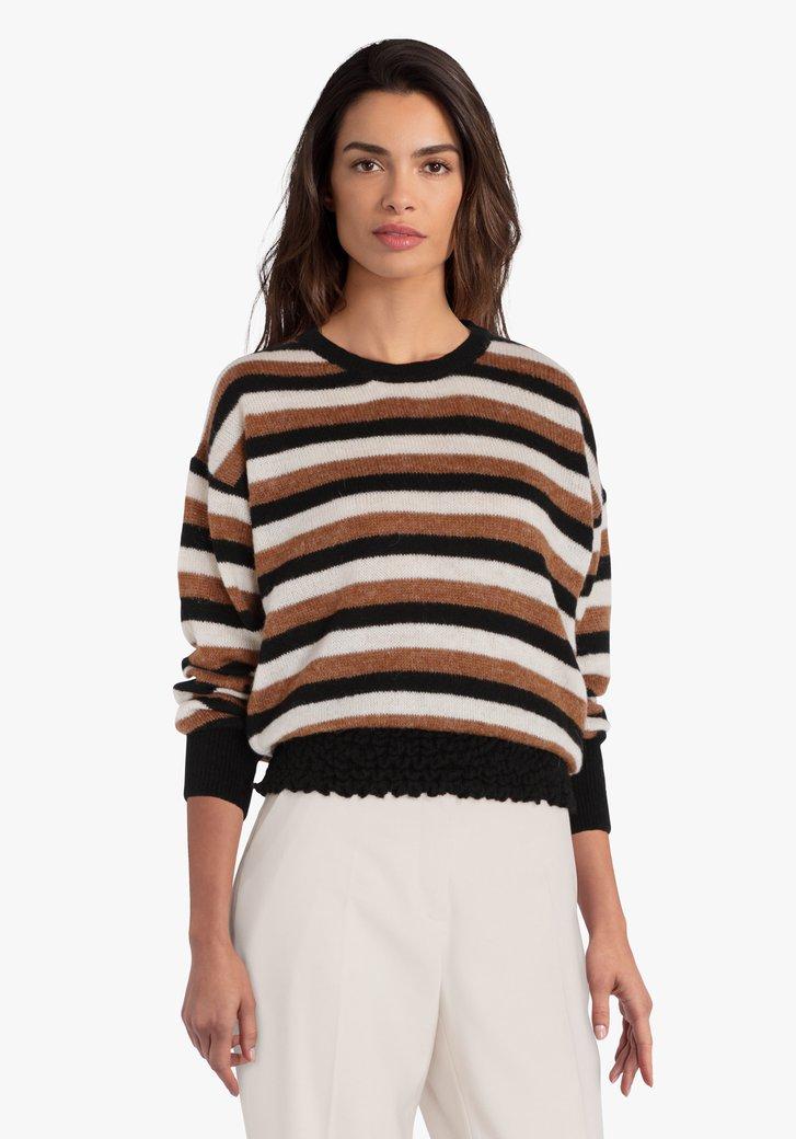 Gestreepte trui met aansluitende taille