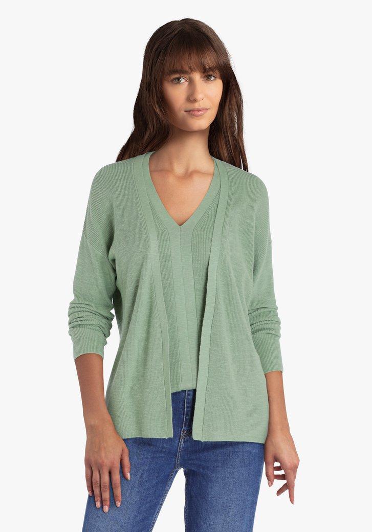Gilet tricoté en vert de mer