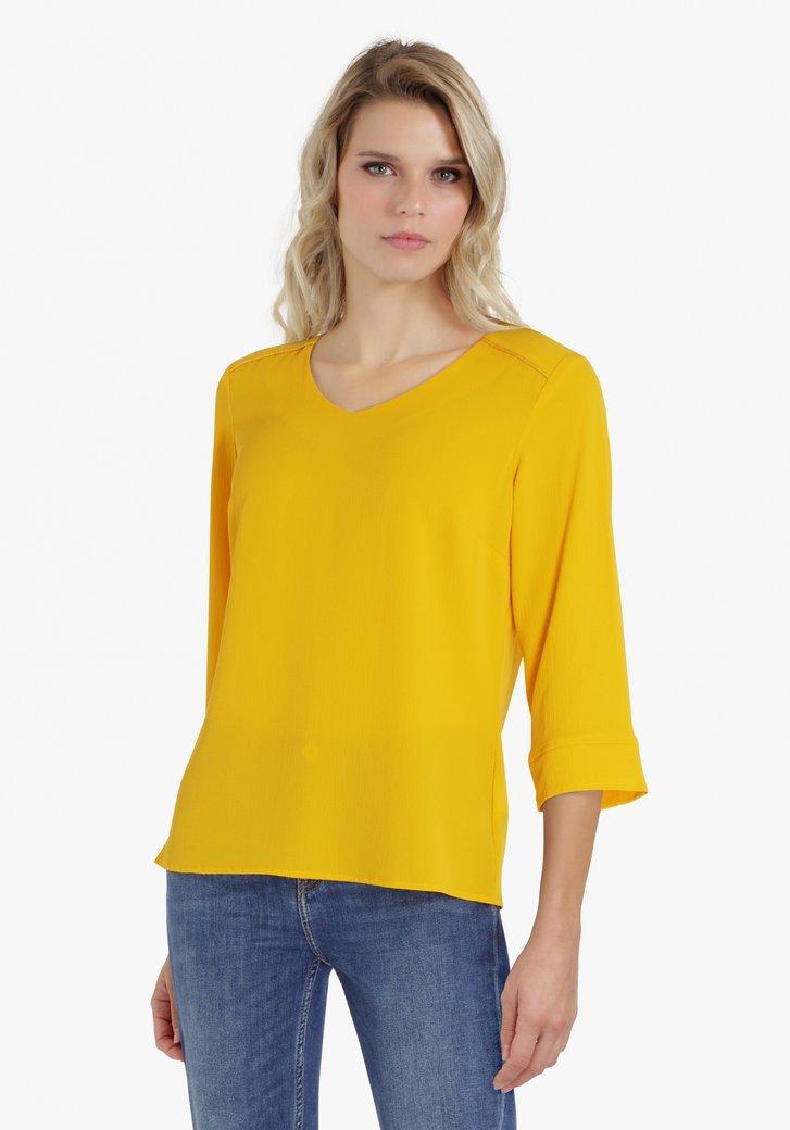 Goudgele blouse met V-hals