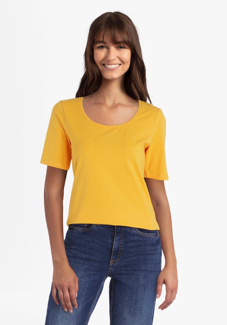 Goudgele katoenen T-shirt met ronde hals