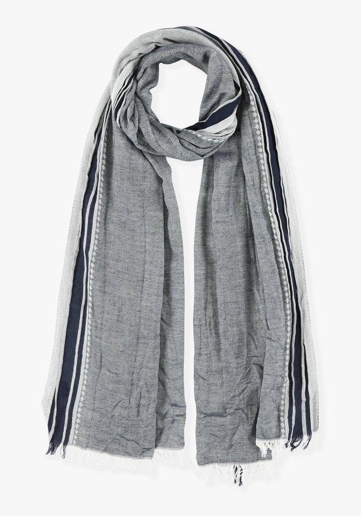 Grijs-blauwe sjaal met strepen