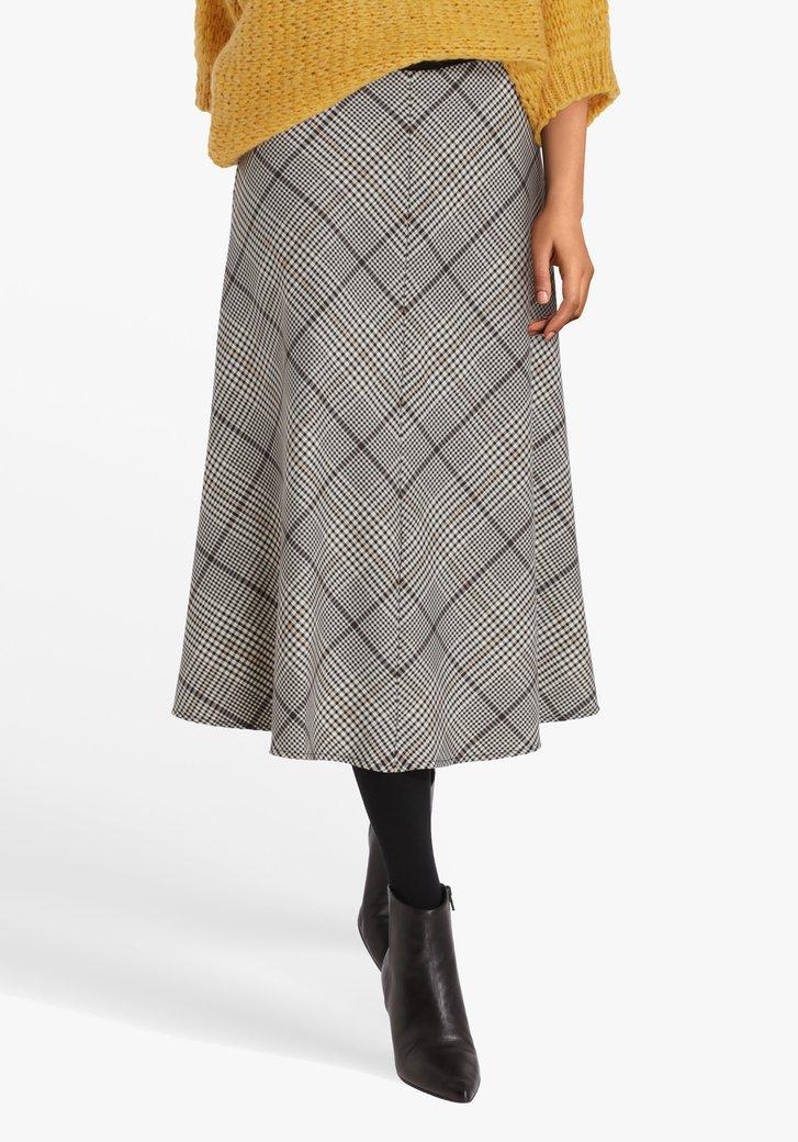 Grijs-bruin geruite rok