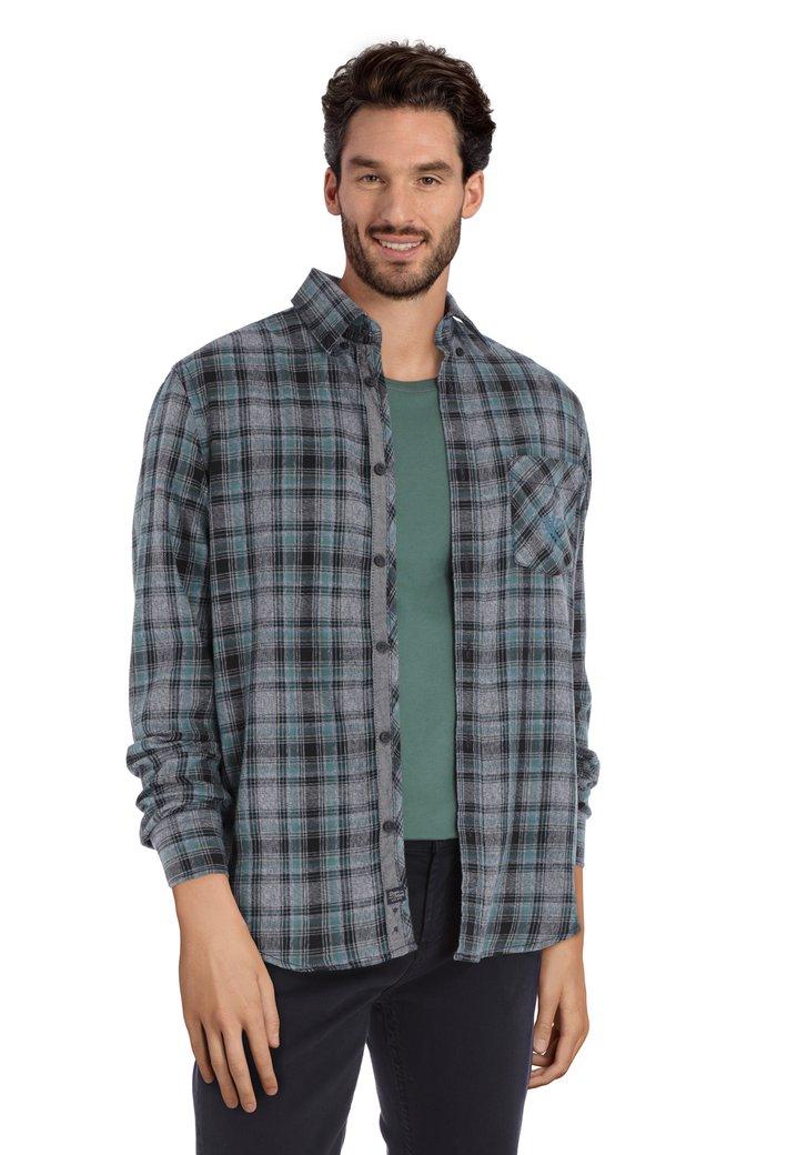 Grijs hemd met groene ruiten - regular fit