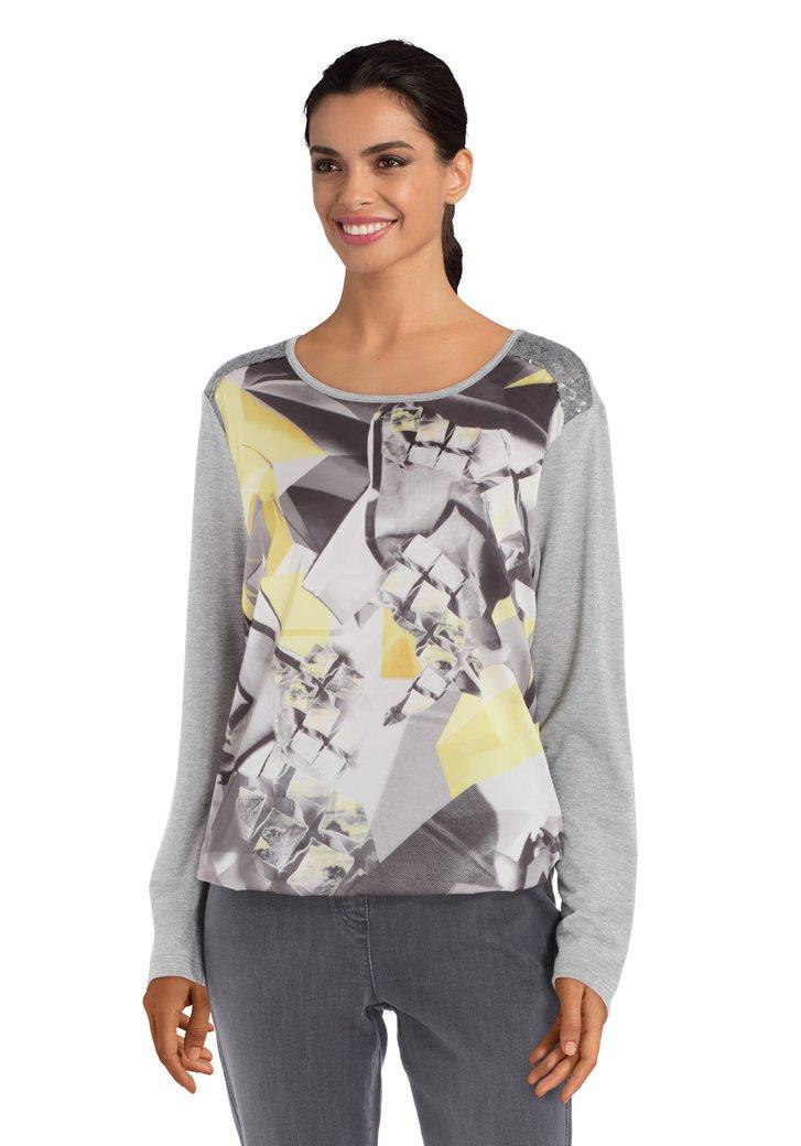 Grijs T-shirt met lurex en pailletten
