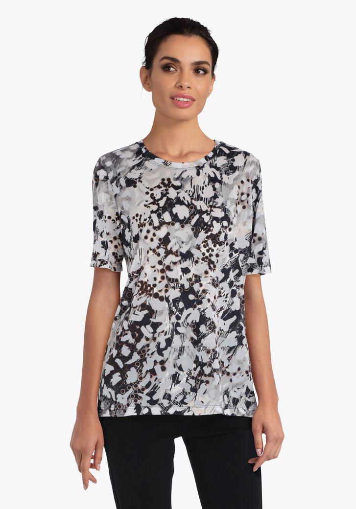 Grijs-zwarte T-shirt met print
