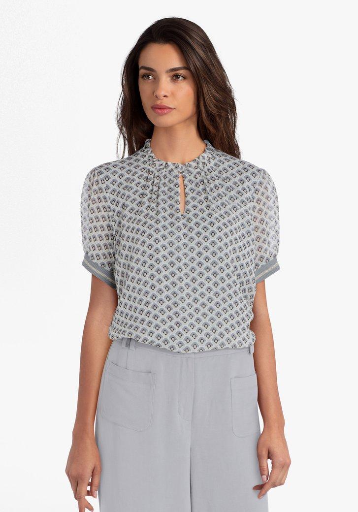 Grijze blouse met geometrische print