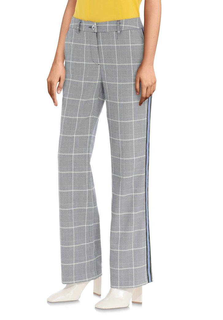 Grijze broek met ruitjes en blauwe biezen