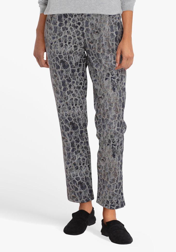 Grijze broek met slangenprint - straight fit