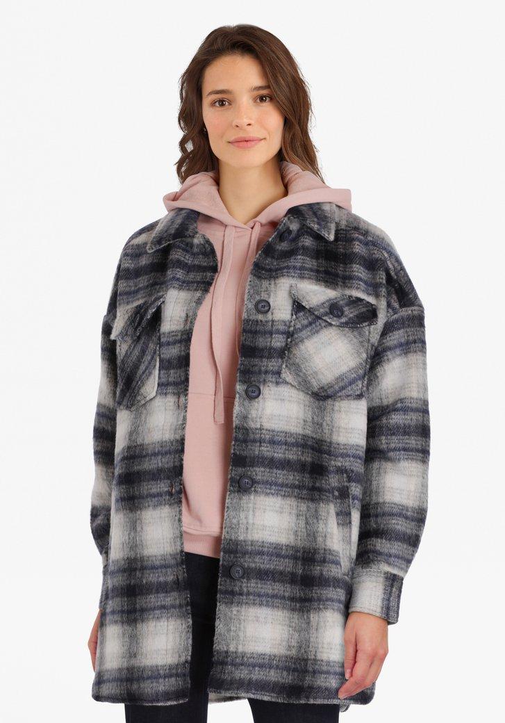 Grijze geruite mantel
