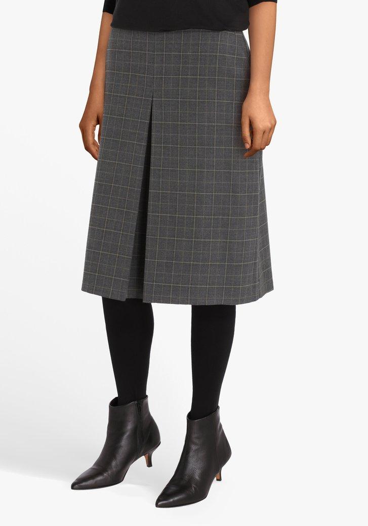 Grijze geruite rok