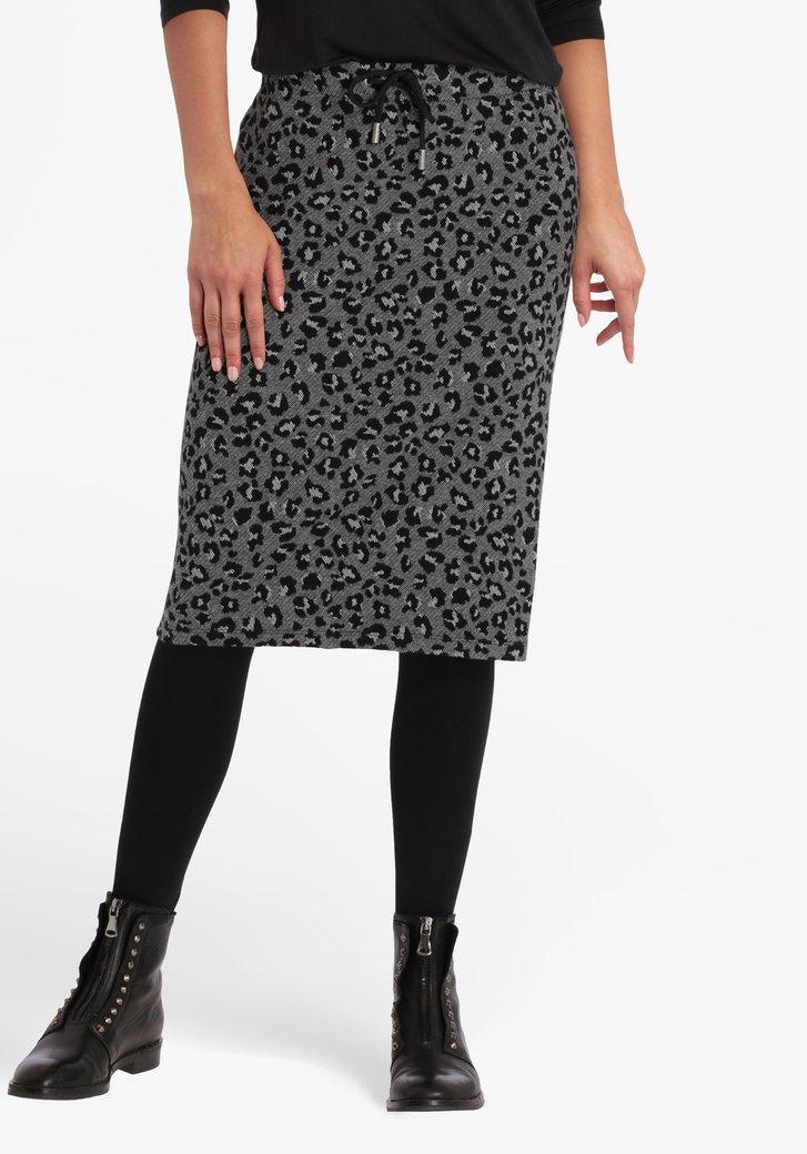 Grijze rok met zwarte print en elastische taille