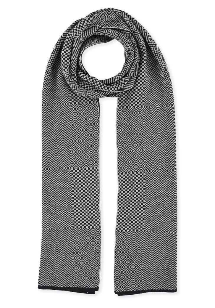 Afbeelding van Grijze sjaal met navy minimotieven