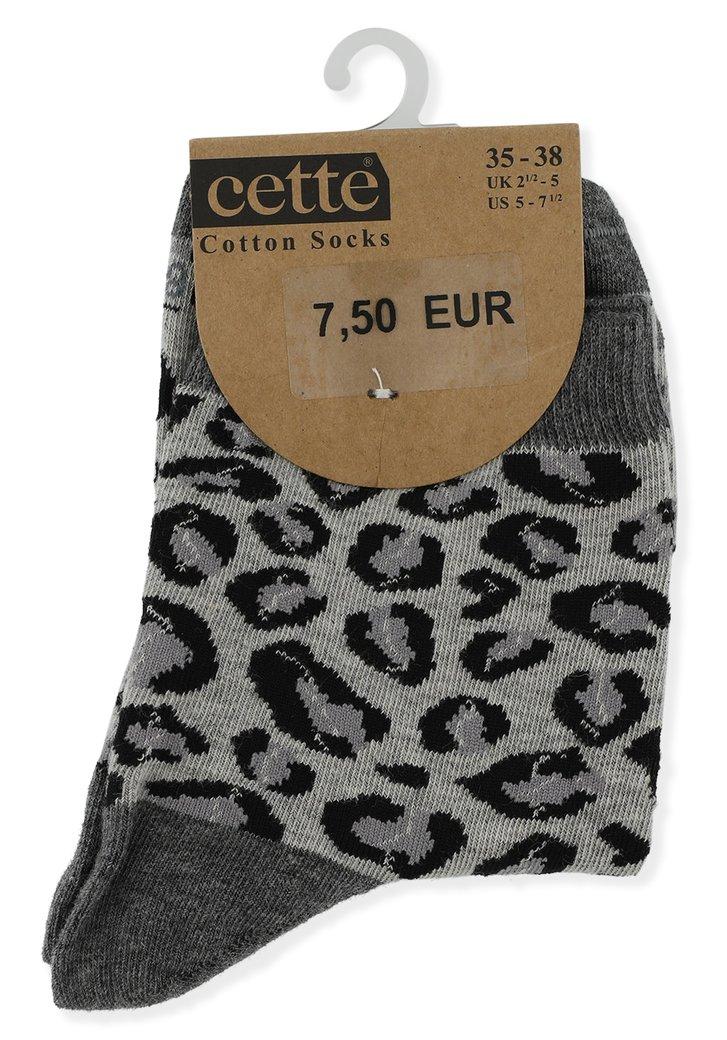 Grijze sokken met luipaardmotief