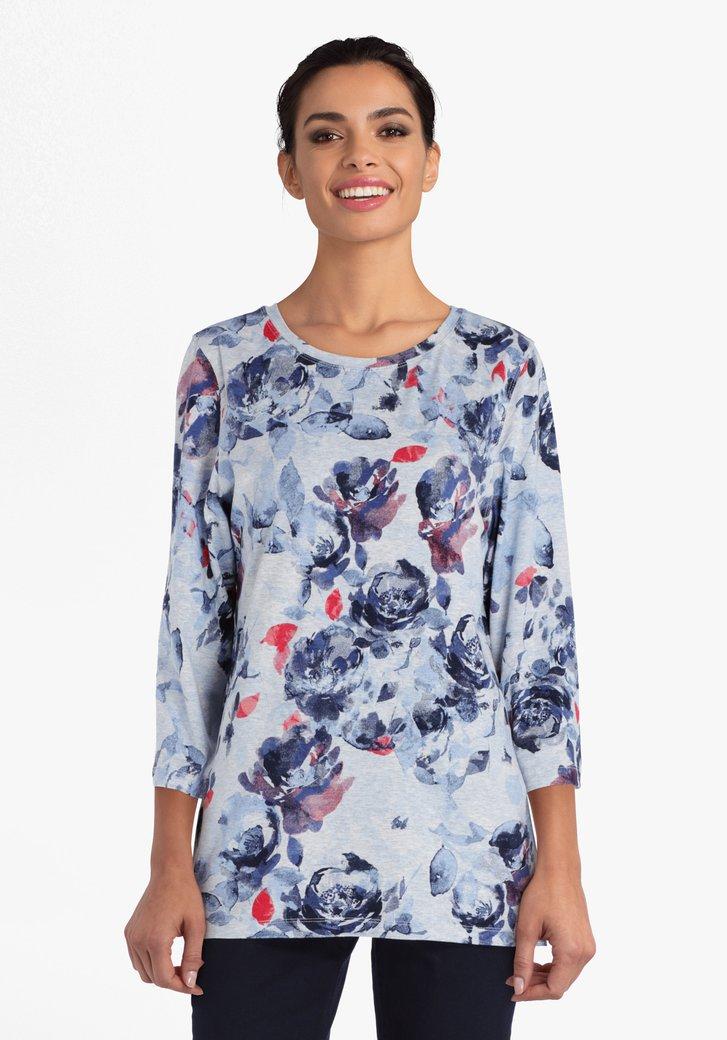 Grijze T-shirt met bloemenprint en rode accenten