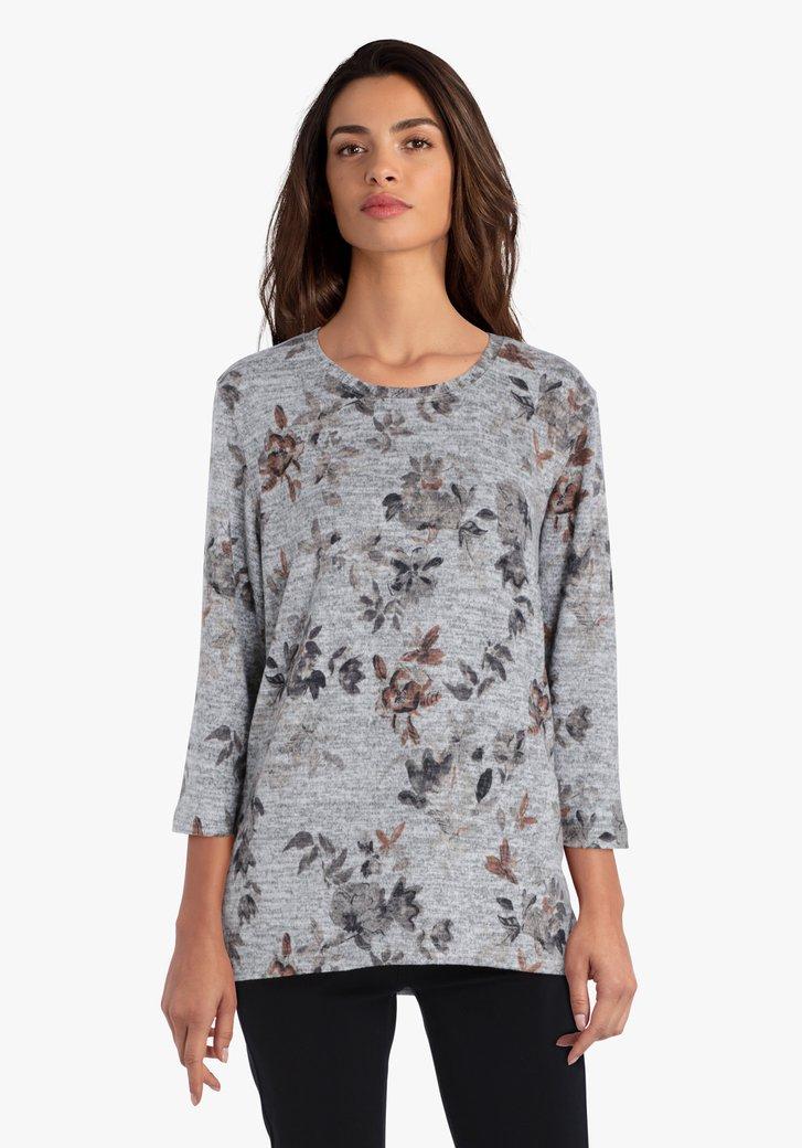 Grijze T-shirt met gekleurde bladerprint
