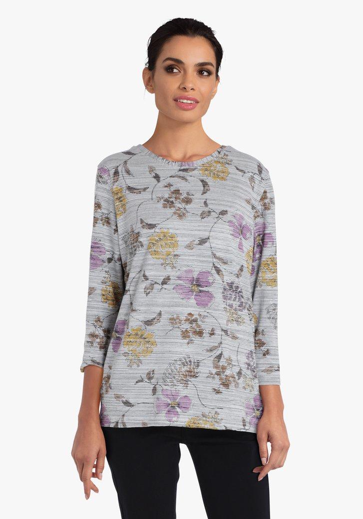 Grijze T-shirt met gekleurde bloemen