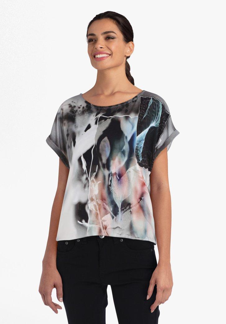 Grijze T-shirt met gekleurde print