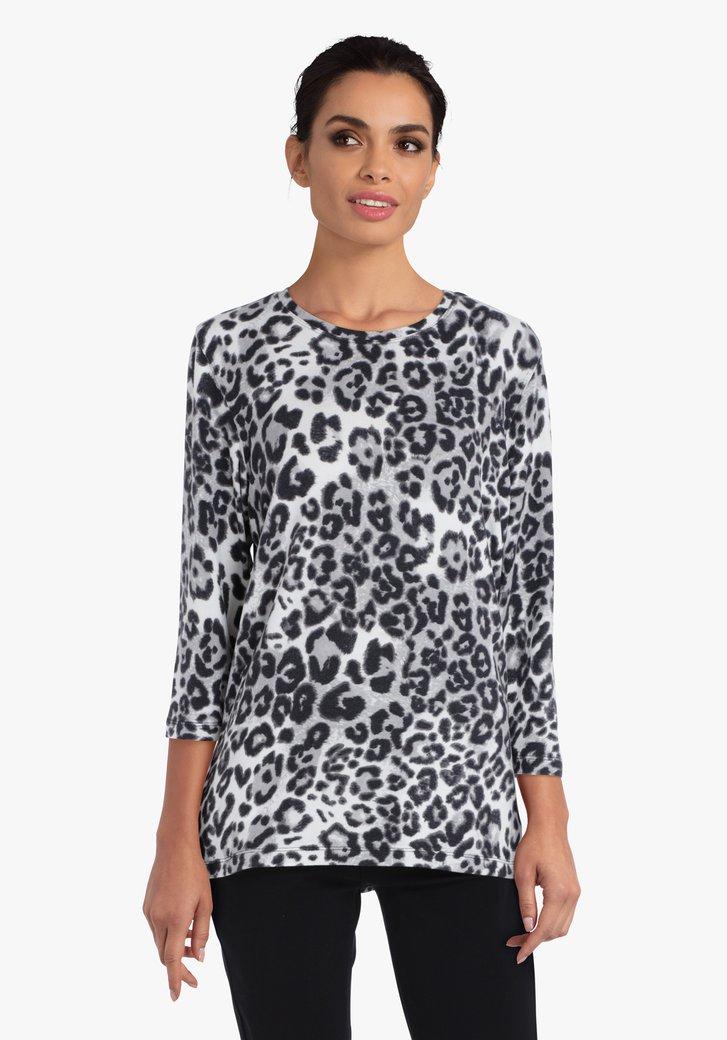 Grijze T-shirt met luipaardprint