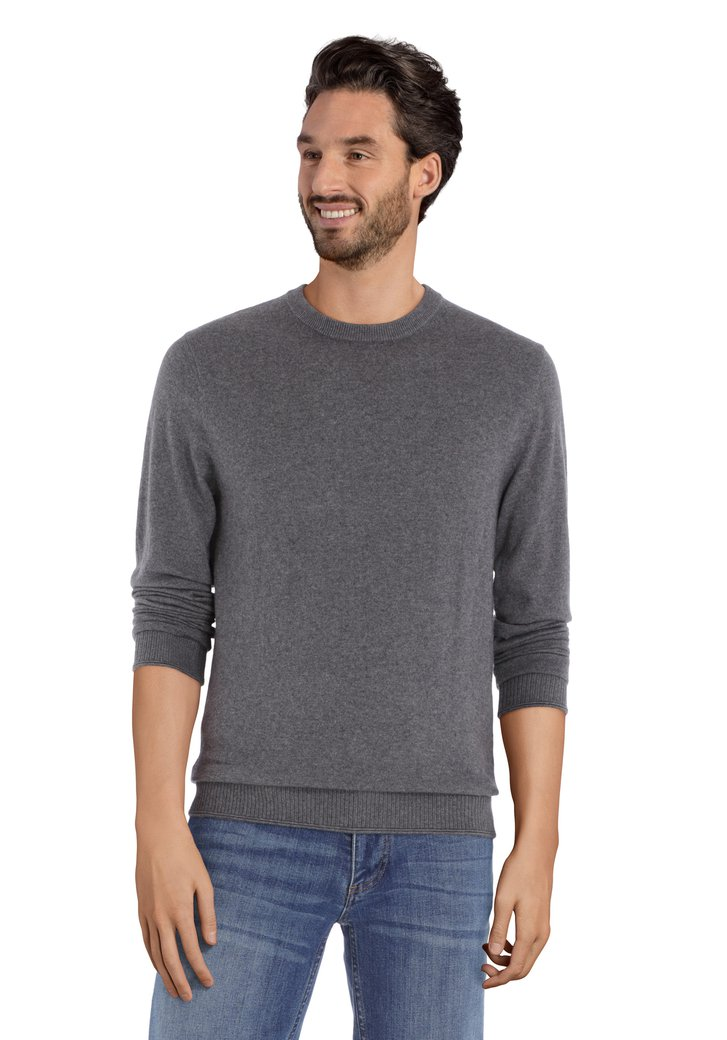Afbeelding van Grijze trui met ronde geribde hals