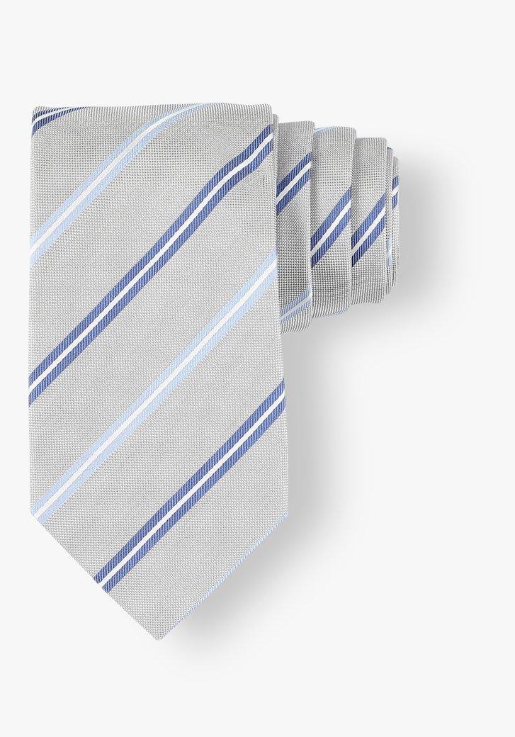 Grijze zijden das met blauwe strepen