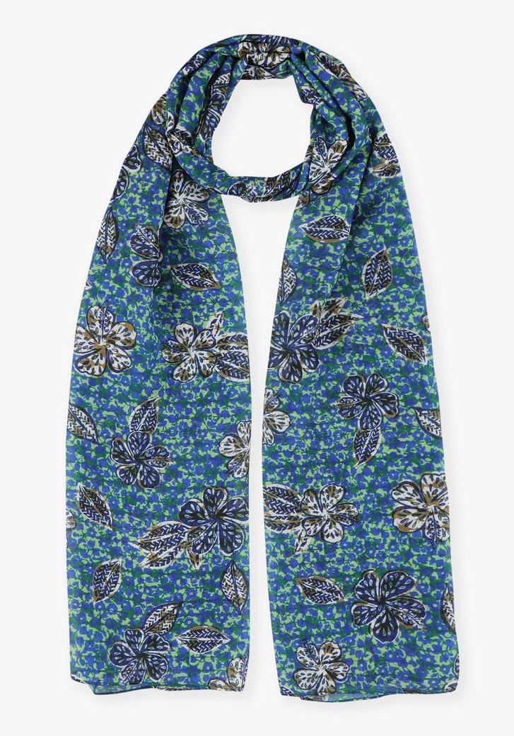 Groen-blauwe sjaal met bloemen