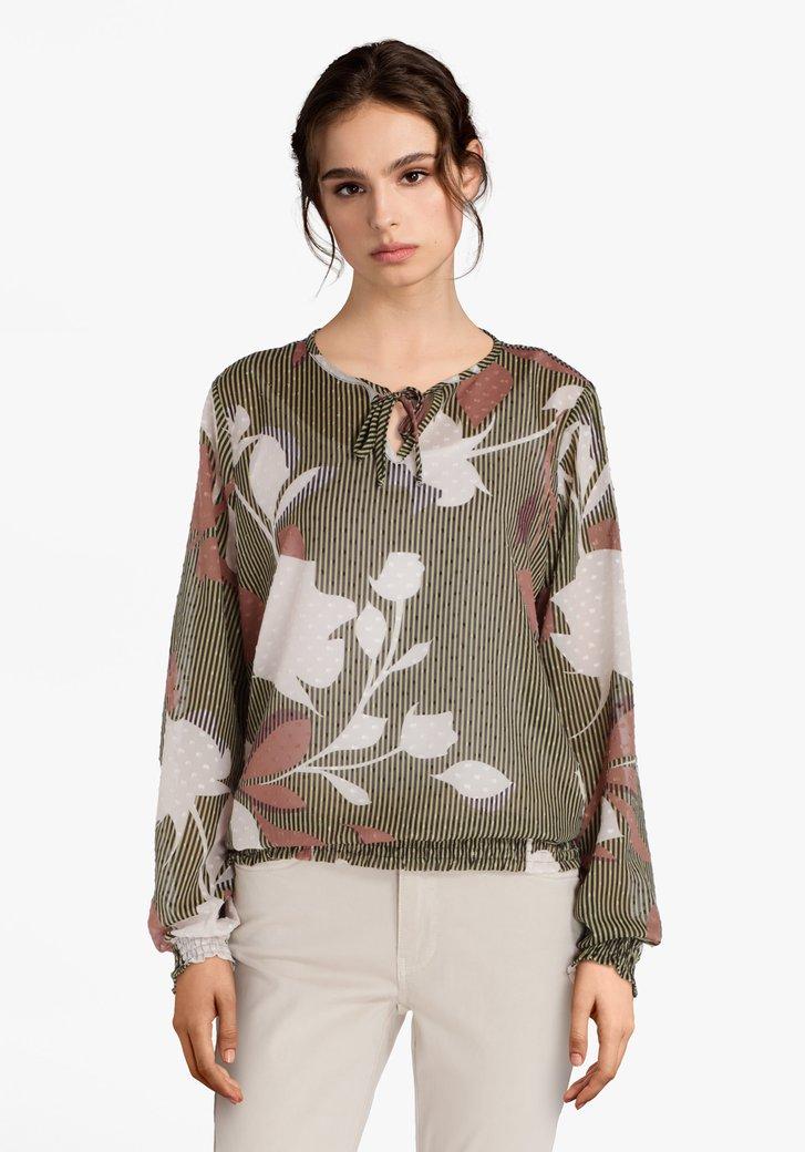 Groen gestreepte blouse in structuurstof