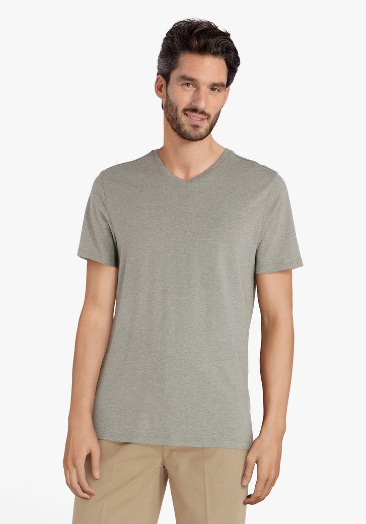 Groen-grijs katoenen T-shirt met V-hals