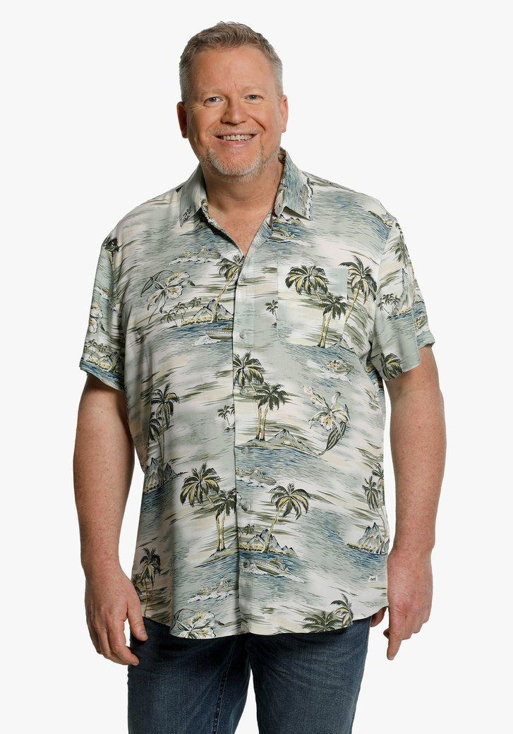 Groen hemd met tropische print