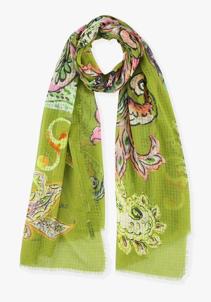 Afbeelding van Groen sjaaltje met bloemenprint