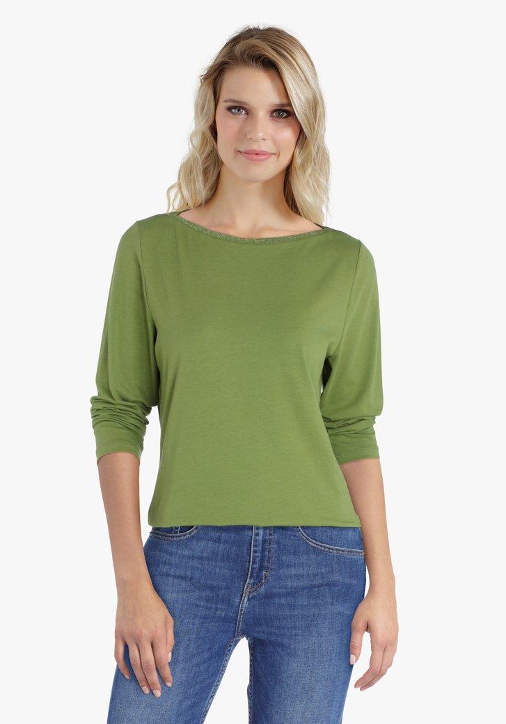 Groen T-shirt met 3/4 mouwen