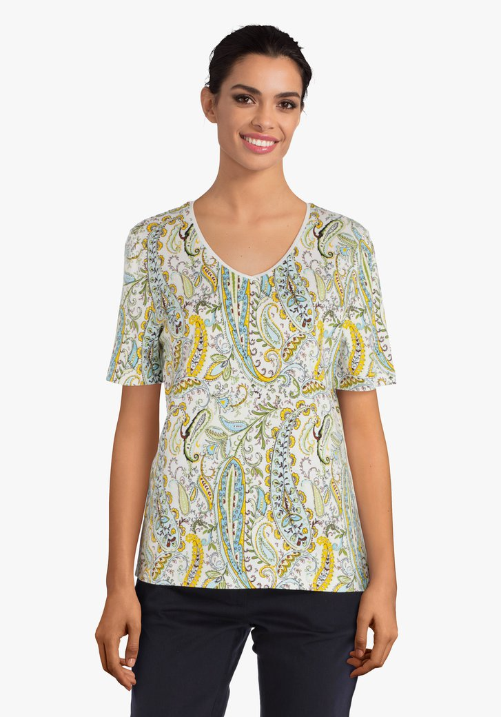Groen T-shirt met geel-blauwe paisley print