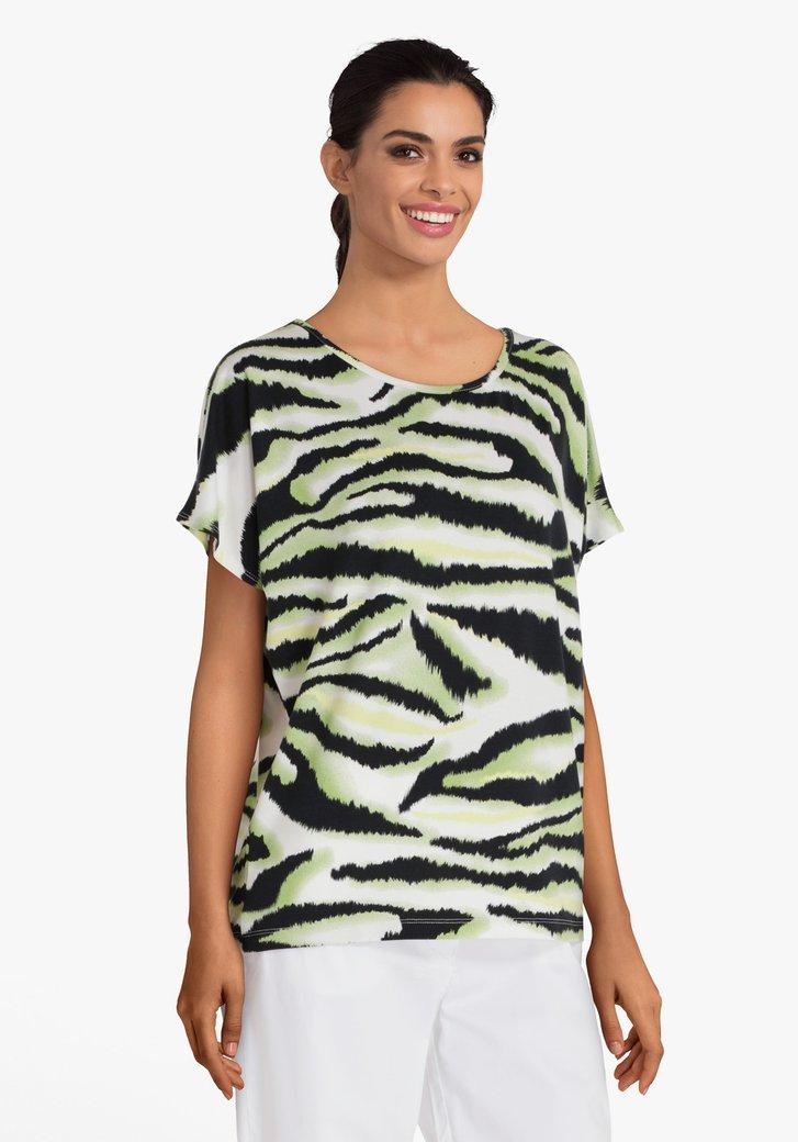Groen T-shirt met zebraprint