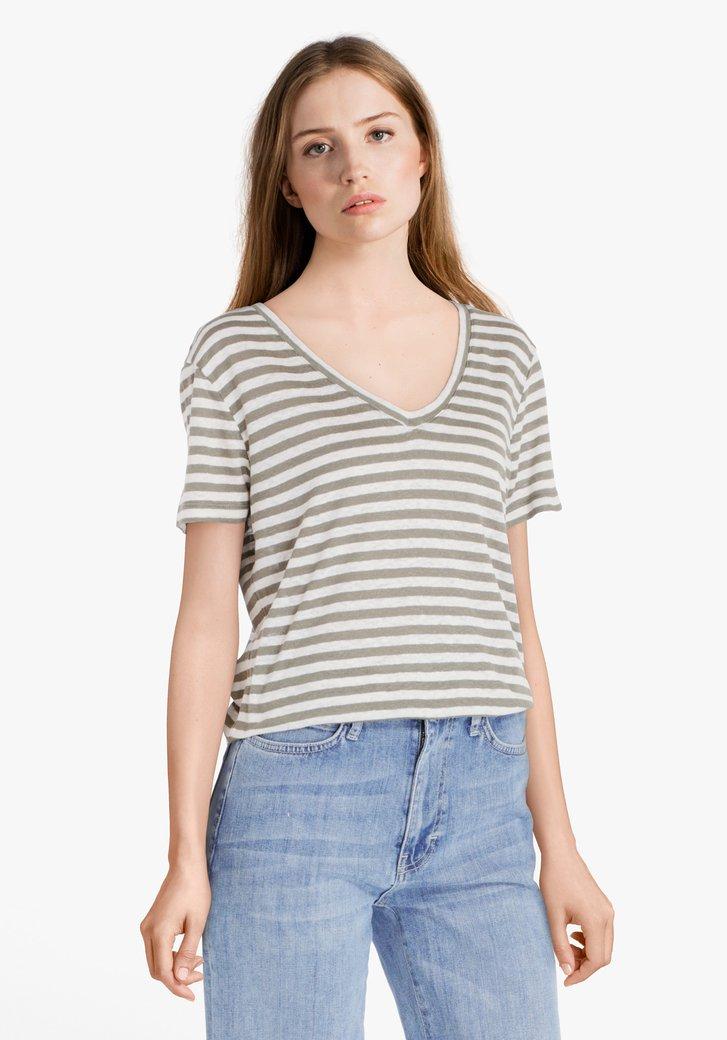 Groen-wit gestreept T-shirt met linnen