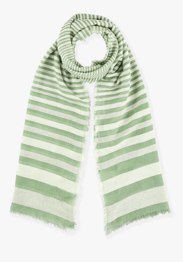 Groen-wit gestreepte sjaal
