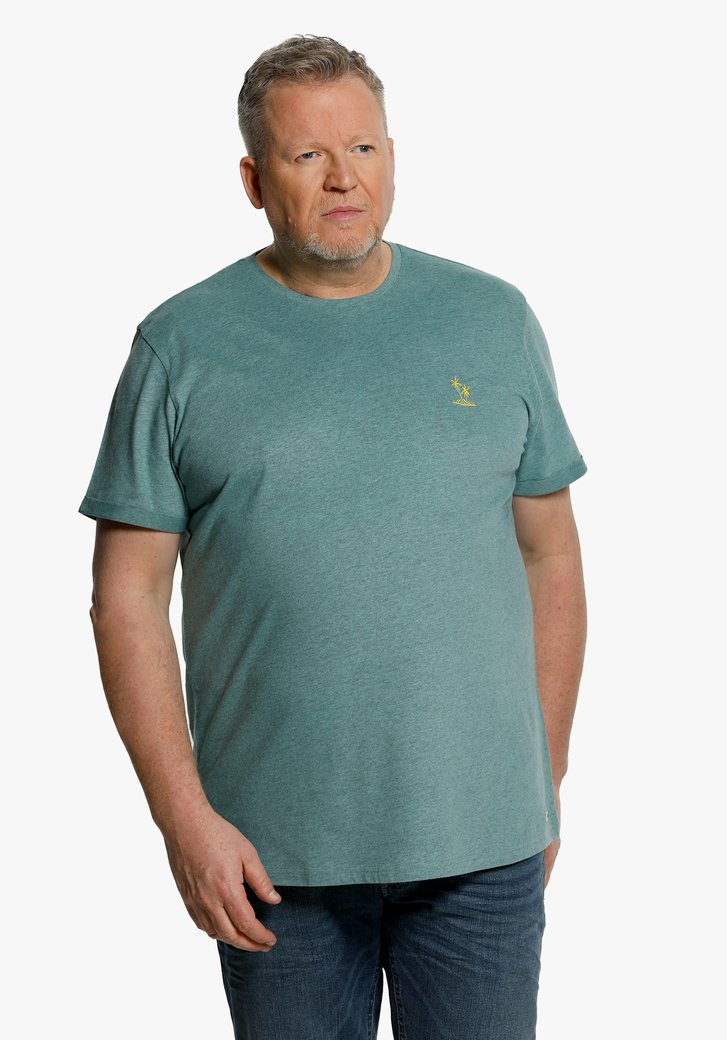 Groenblauw T-shirt met klein palmboompje
