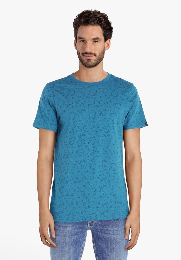 Groenblauw T-shirt met miniprint