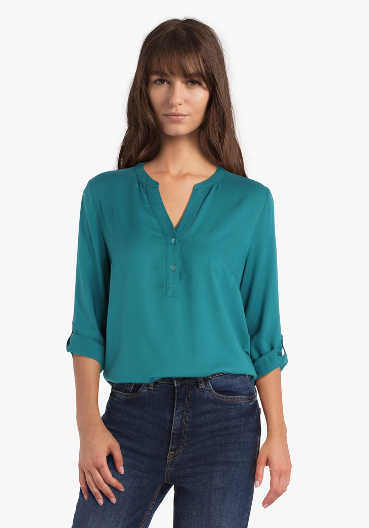 Groenblauwe blouse met V-hals