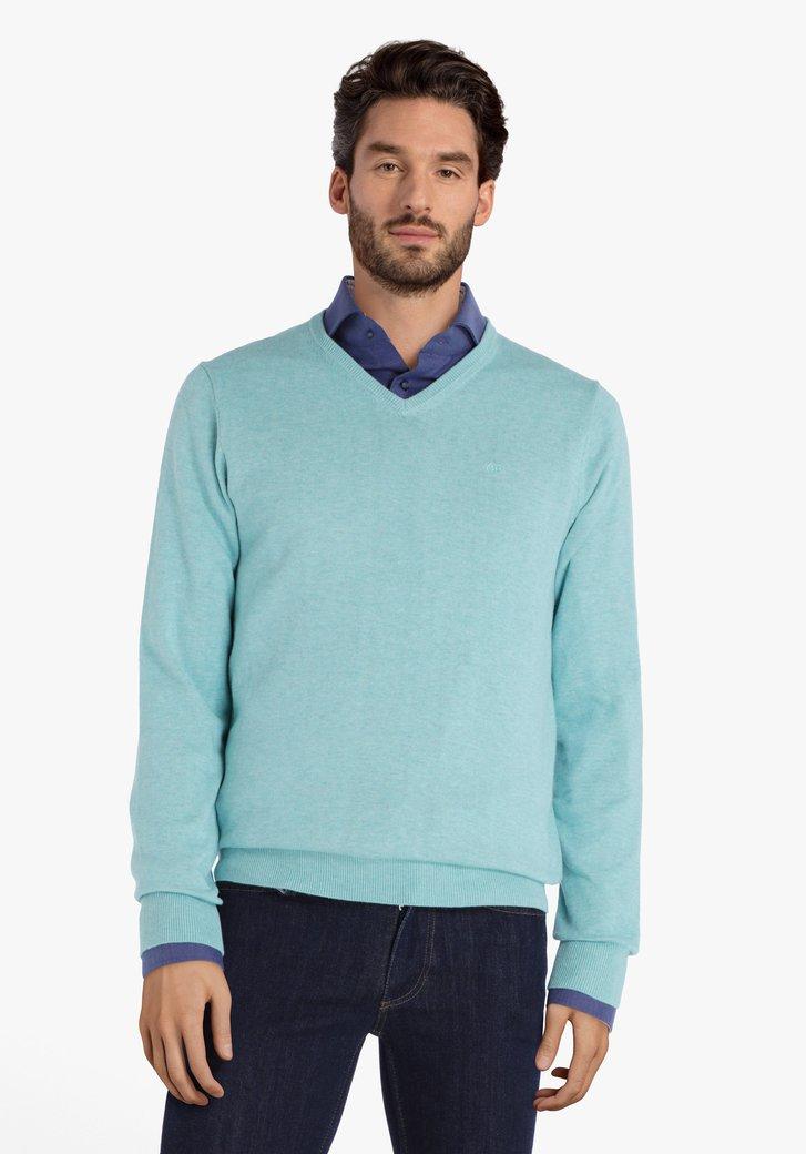 Groenblauwe katoenen trui met V-hals