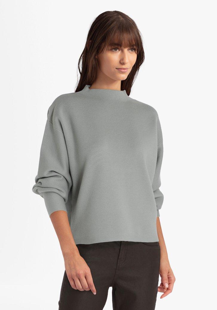 Groenblauwe trui met col
