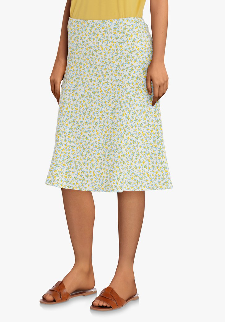 Groene A-lijn rok met geel-blauwe bloemenprint