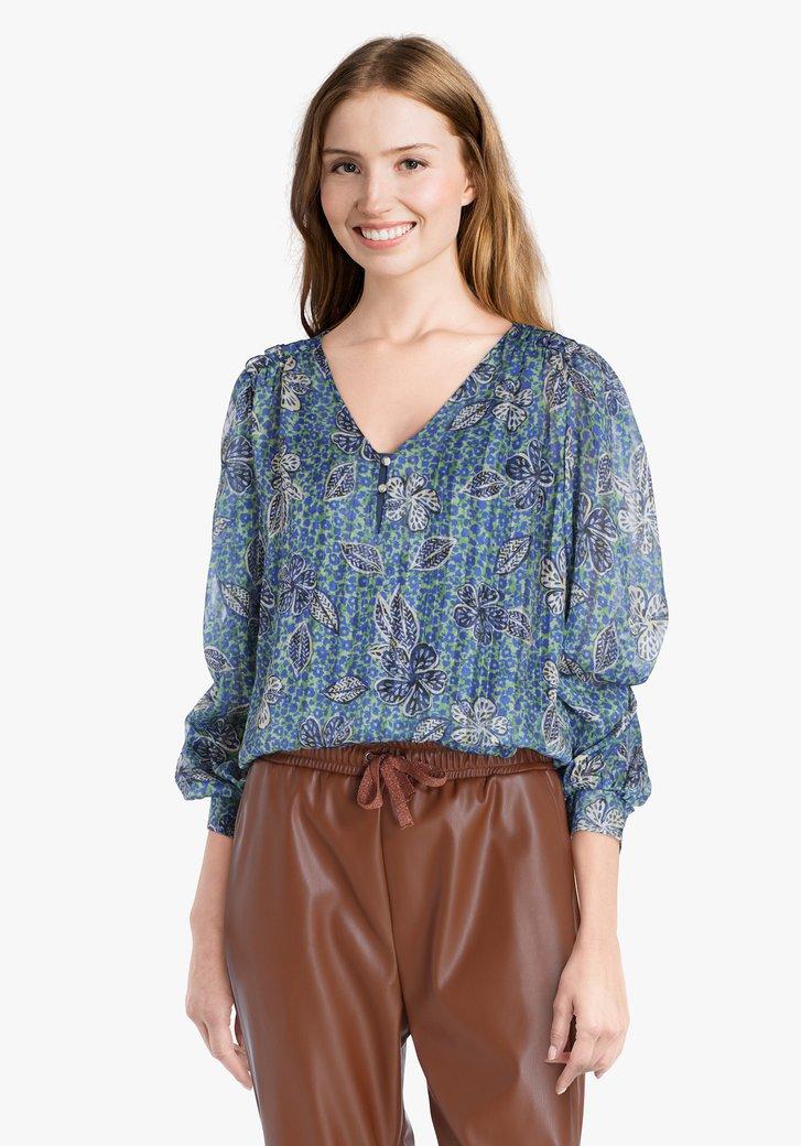 Groene blouse met blauwe bloemenprint