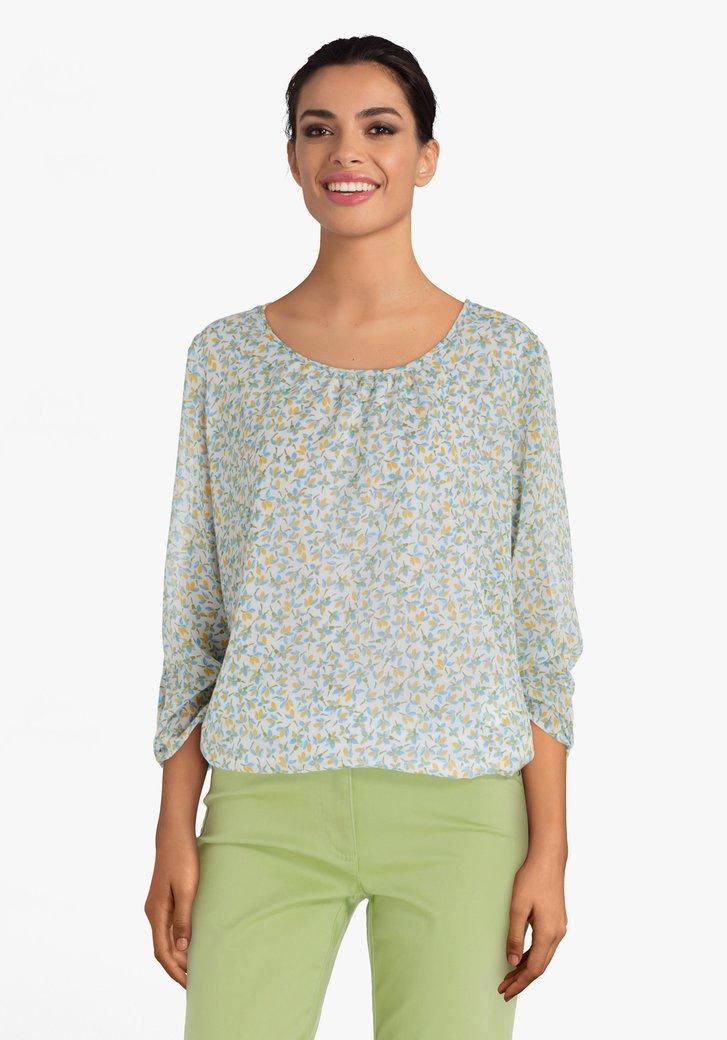 Groene blouse met geel-blauwe bloemenprint