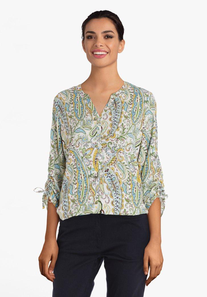 Groene blouse met geel-blauwe paisley print