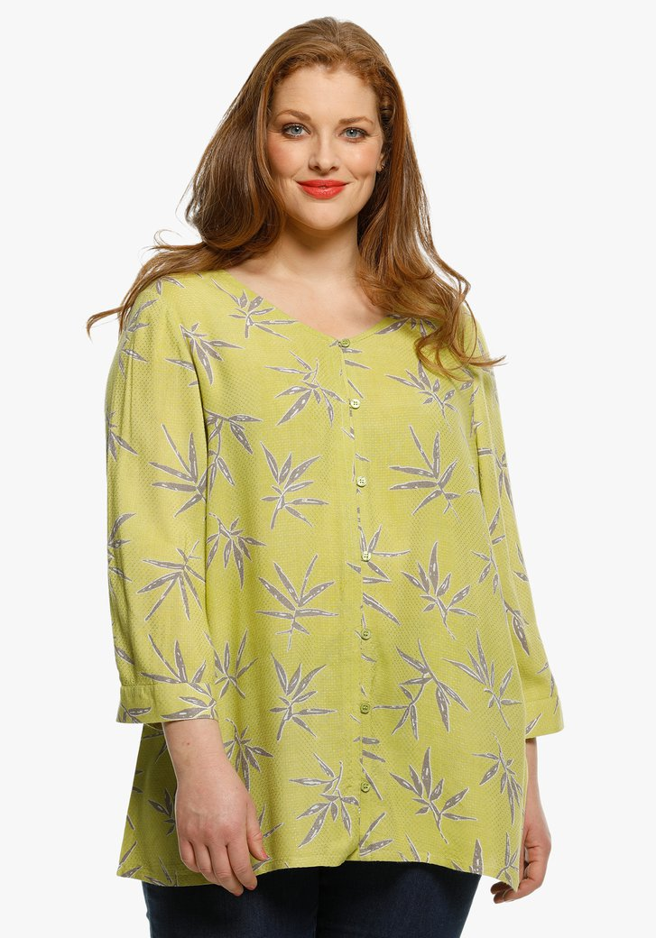 Groene blouse met lichte bladerprint